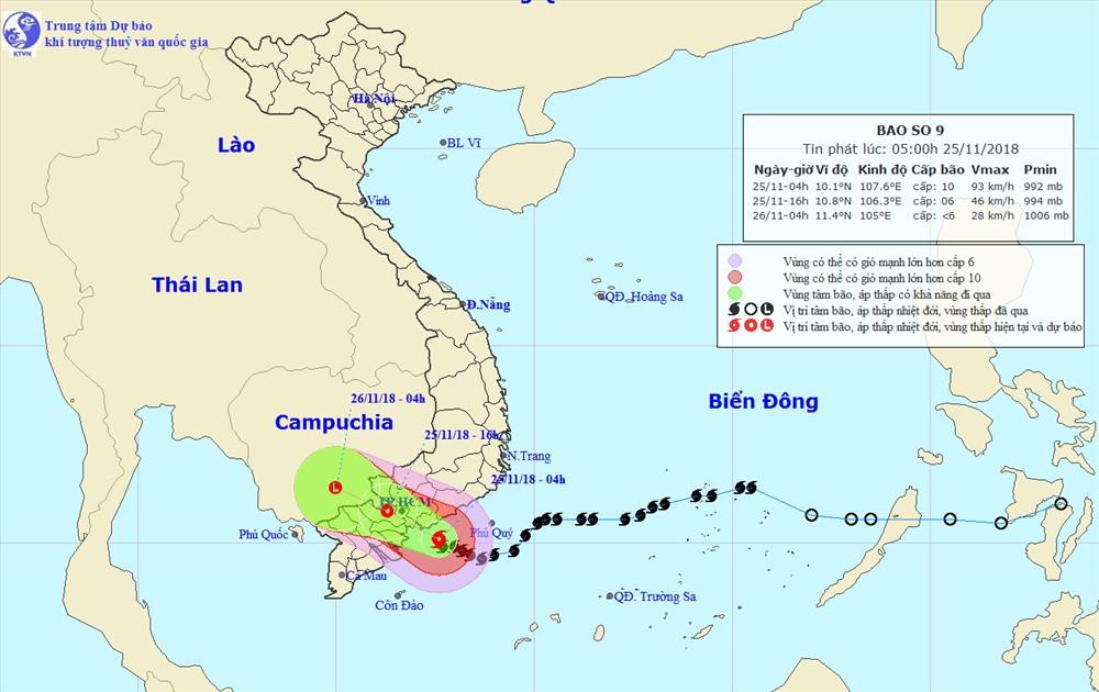Bản đồ dự báo đường đi của bão - Ảnh: Trung tâm dự báo khí tượng thủy văn trung ương