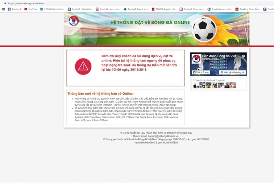 VFF for the first time selling Vietnam online tickets and