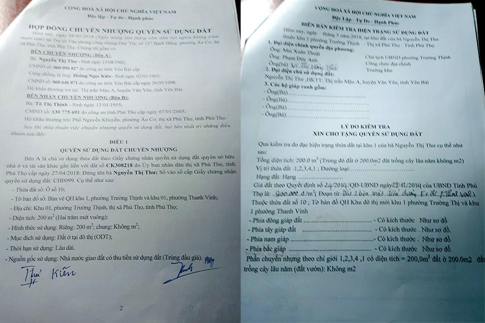 Một bản hợp đồng sang tên đất cho bà Thịnh và một biên bản kiểm tra hiện trạng đất được lập rất sơ sài bởi UBND phường Trường Thịnh. Ảnh: LN.