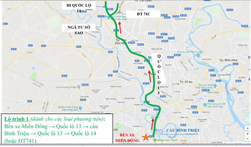 Từ TP HCM đi các tỉnh Đông Nam Bộ và Tây Nguyên cũng có 3 lộ trình. Lộ trình một: Bến xe Miền Đông - Quốc lộ 13 - cầu Bình Triệu - Quốc lộ 13 - Quốc lộ 14 (hoặc ĐT 741).