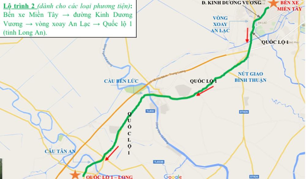 Lộ trình 2: Bến xe Miền Tây - đường Kinh Dương Vương - vòng xoay An Lạc - Quốc lộ 1 (tỉnh Long An).