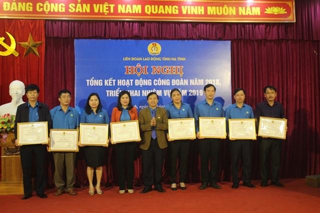 Các tập thể được nhận bằng khen của LĐLĐ tỉnh Hà Tĩnh