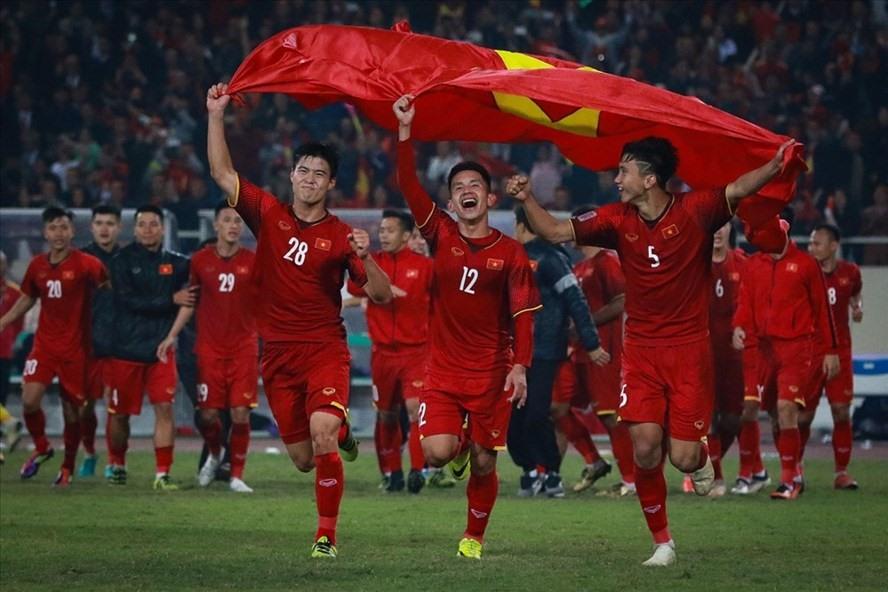 Hình ảnh cầu thủ Việt Nam ăn mừng chức vô địch AFF Cup 2018.