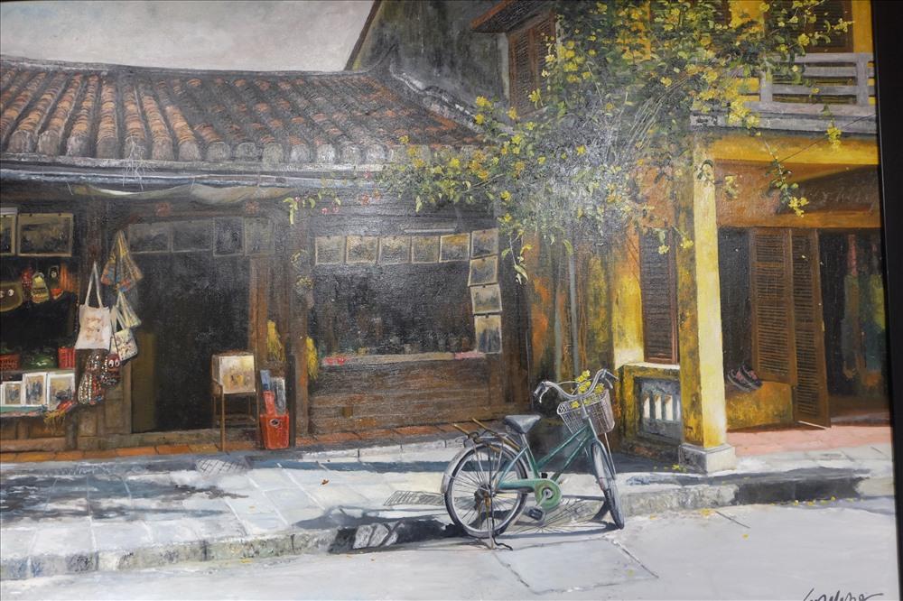 Tranh sơn dầu Nắng chiều của họa sĩ Nguyễn Hữu Đức. Triển lãm ảnh Mỹ thuật Đà Nẵng 2018 diễn ra đến hết ngày 16.12.