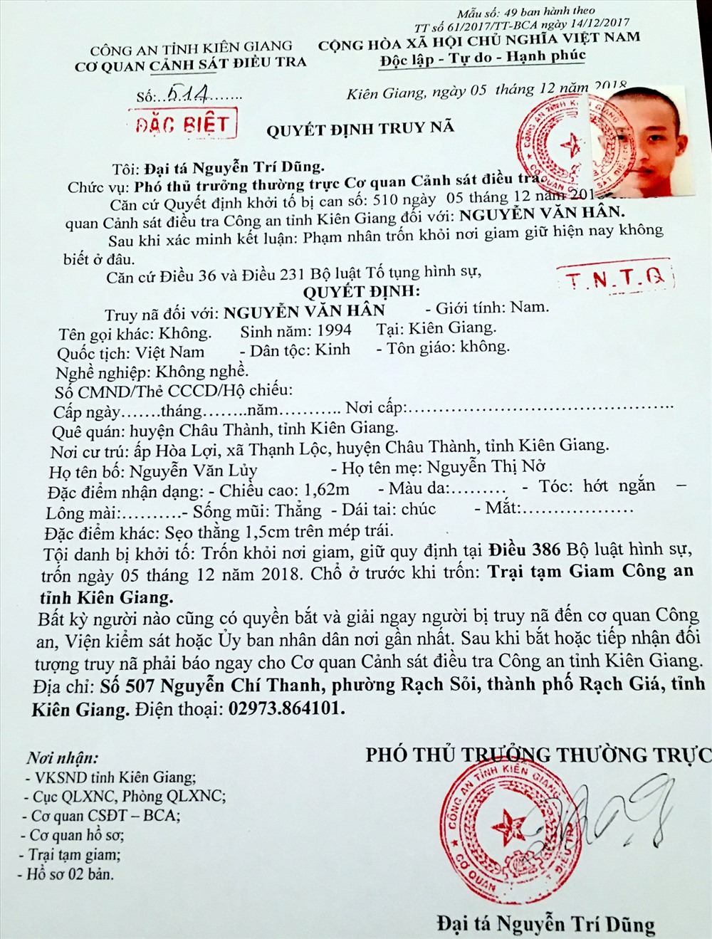 Truy nã đặc biệt phạm nhân Nguyễn Văn Hân. Ảnh: LT