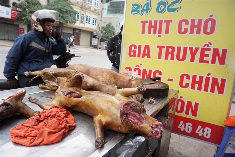 Với quan niệm ăn thịt chó giải đen, trước tết nhiều người mua thịt chó về ăn.