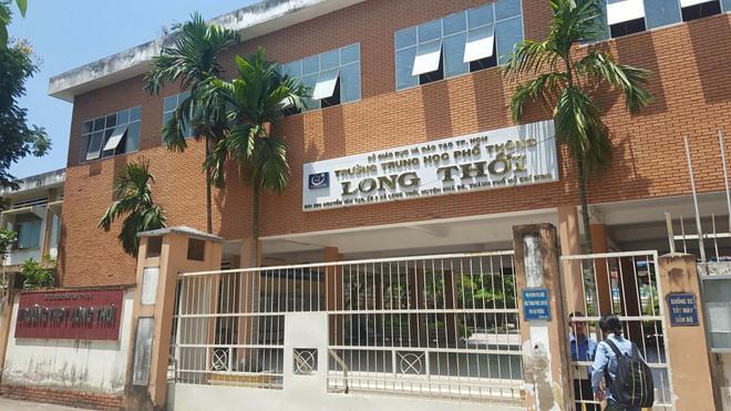 Trường THPT Long Thới, huyện Nhà Bè, TP.HCM, nơi xảy ra vụ việc. Ảnh: Minh Nhật.
