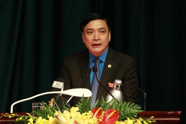 Đồng chí Bùi Văn Cường - Ủy viên TƯ  Đảng, Chủ tịch Tổng LĐLĐVN phát biểu chỉ đạo tại Đại hội. Ảnh: Hải Nguyễn