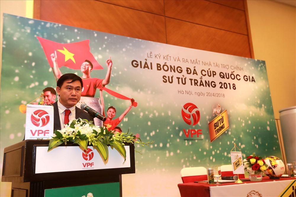 Chủ tịch HĐQT, TGĐ VPF và Trưởng Ban điều hành các giải chuyên nghiệp Trần Anh Tú. Ảnh: Hải Anh.