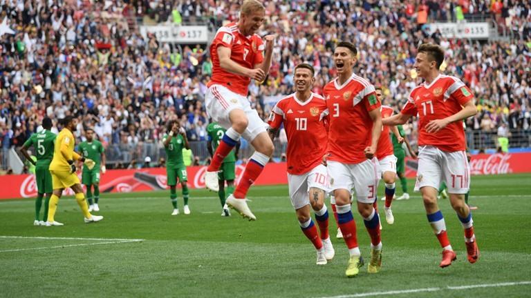 Tuyển Nga đã khép lại trận khai mạc một cách ngọt ngào với chiến thắng 5-0 trước  Saudi Arabia. Ảnh: FIFA