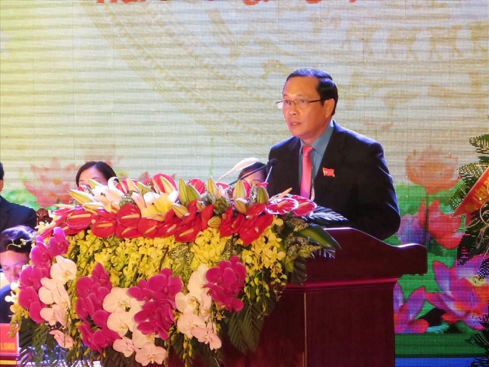 Ông Phạm Hữu Thư, Chủ tịch LĐLĐ Hải Phòng phát biểu khai mạc Đại hội. Ảnh: TN