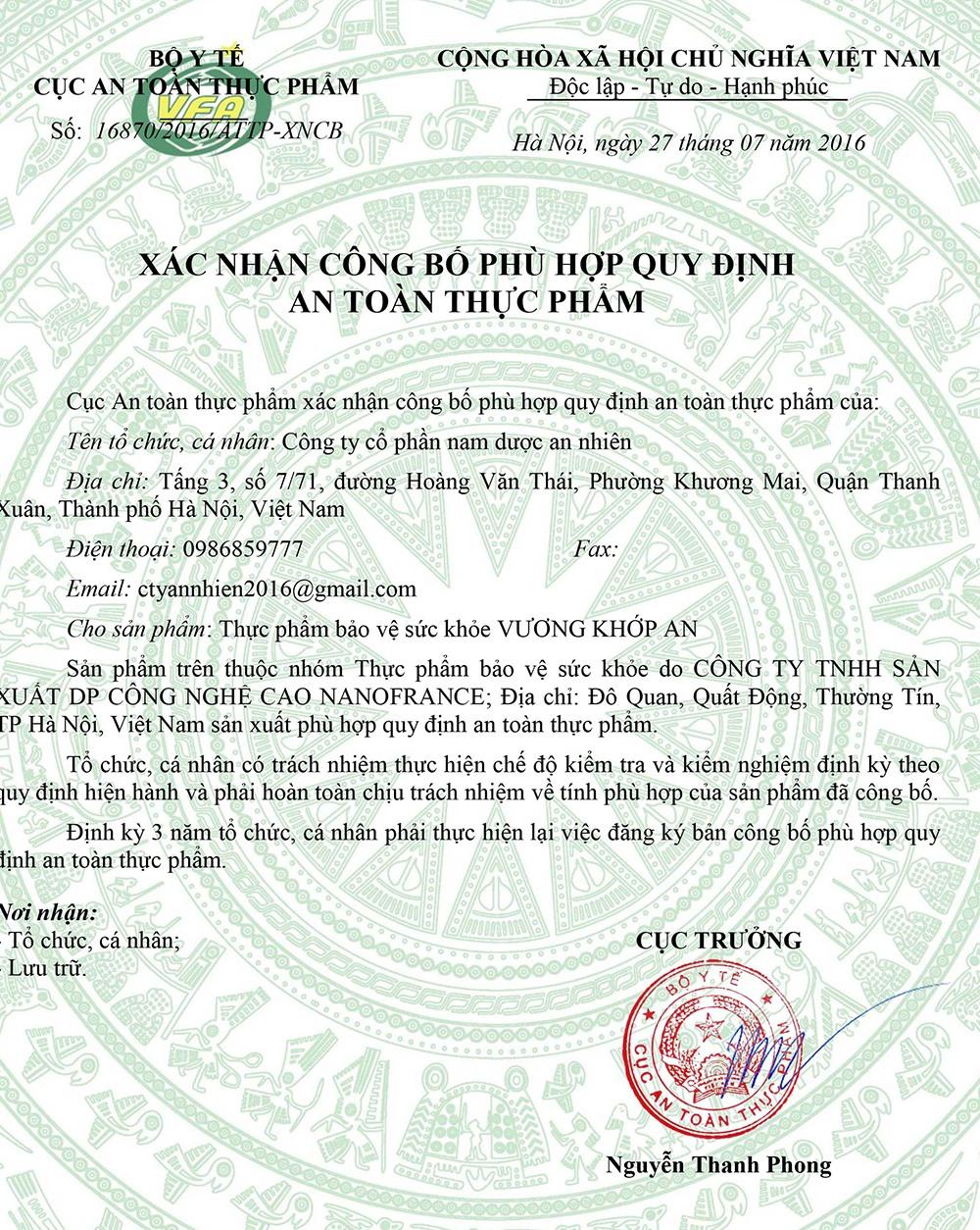 Bản chất Vương Khớp An chỉ là TPCN.