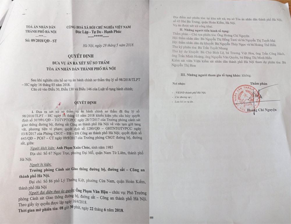 Quyết định xét xử vụ án của Tòa án nhân dân TP Hà Nội.