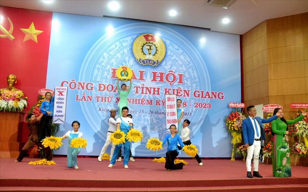 Quang cảnh Đại hội X Công đoàn Kiên  Giang. (Ảnh: Lục Tùng)