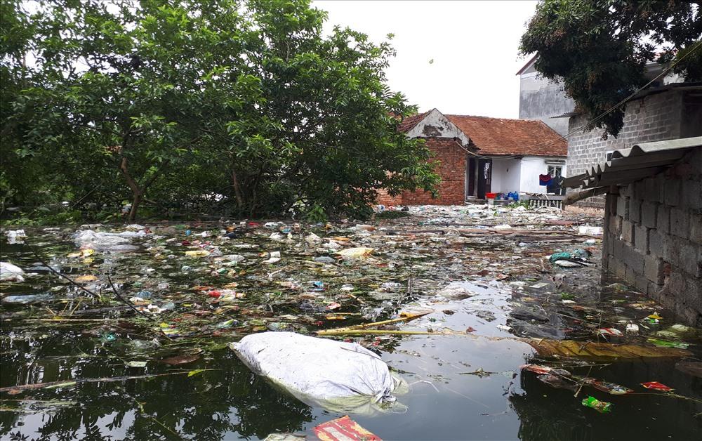Rác thải, xác động vật chết nổi đầy trên mặt nước, tuồn ứ khiến nhiều người dân rất khó chịu.
