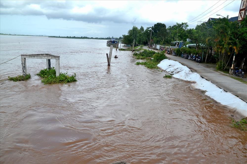 Khu vực thượng nguồn trạm bơm vẫn đầy ắp nguy cơ từ dòng nước lũ cuồn cuộn đổ về. Ảnh: Lục Tùng