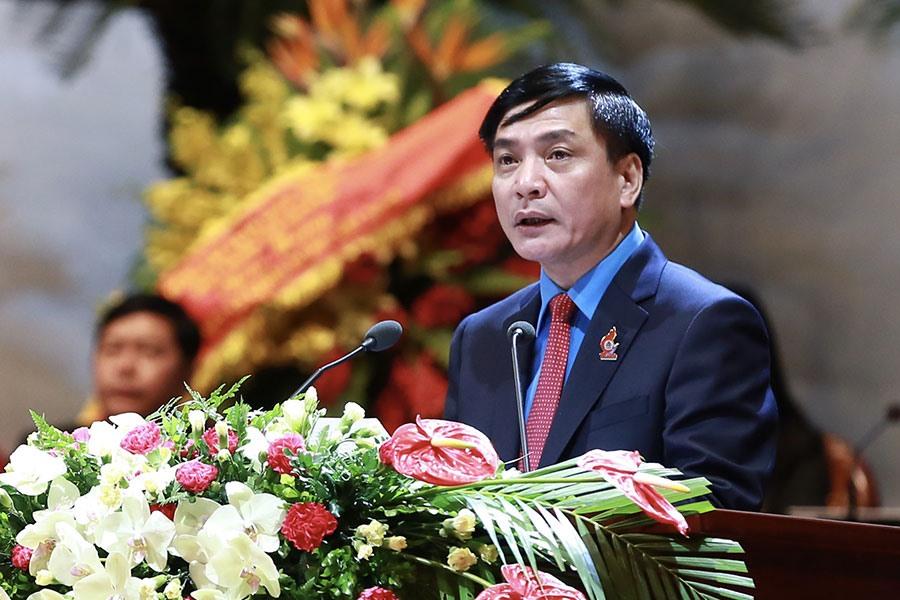 Chủ tịch Tổng LĐLĐVN Bùi Văn Cường phát biểu khai mạc Đại hội XII CĐVN. Ảnh: HẢI NGUYỄN