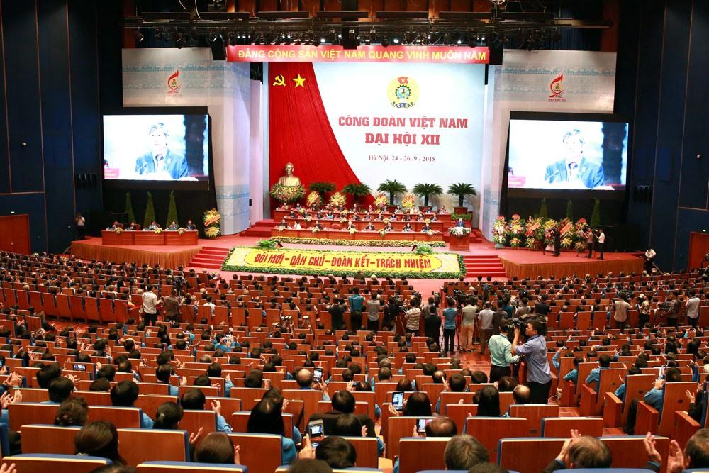 Toàn cảnh phiên trọng thể Đại hội Công đoàn Việt Nam lần thứ XII, ngày 25.9. Ảnh: Hải Nguyễn.
