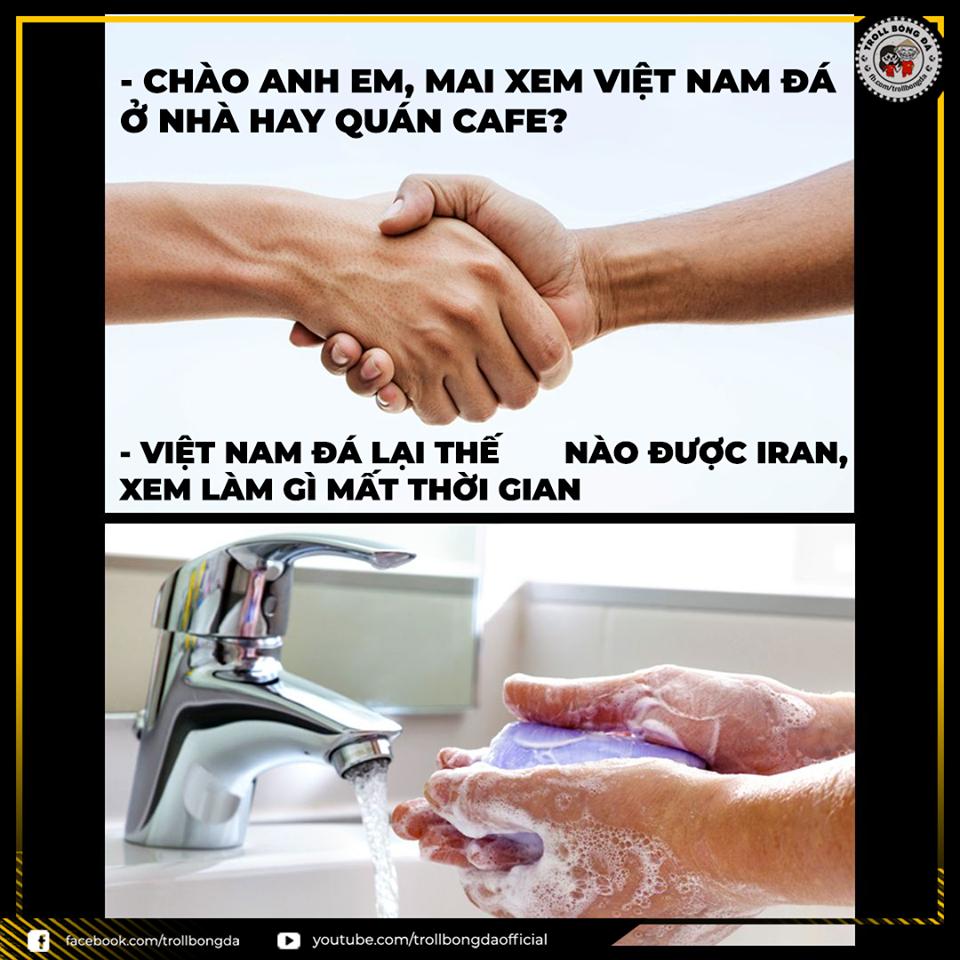 """Mọi hành động chê bai đội tuyển Việt Nam trước cuộc so tài với Iran đều bị cộng đồng mạng """"ném đá"""". Ảnh Troll Bóng Đá"""