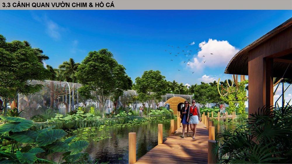 Phối cảnh hồ cá và vườn chim thuộc dự án SunBay Cam Ranh Resort & Spa