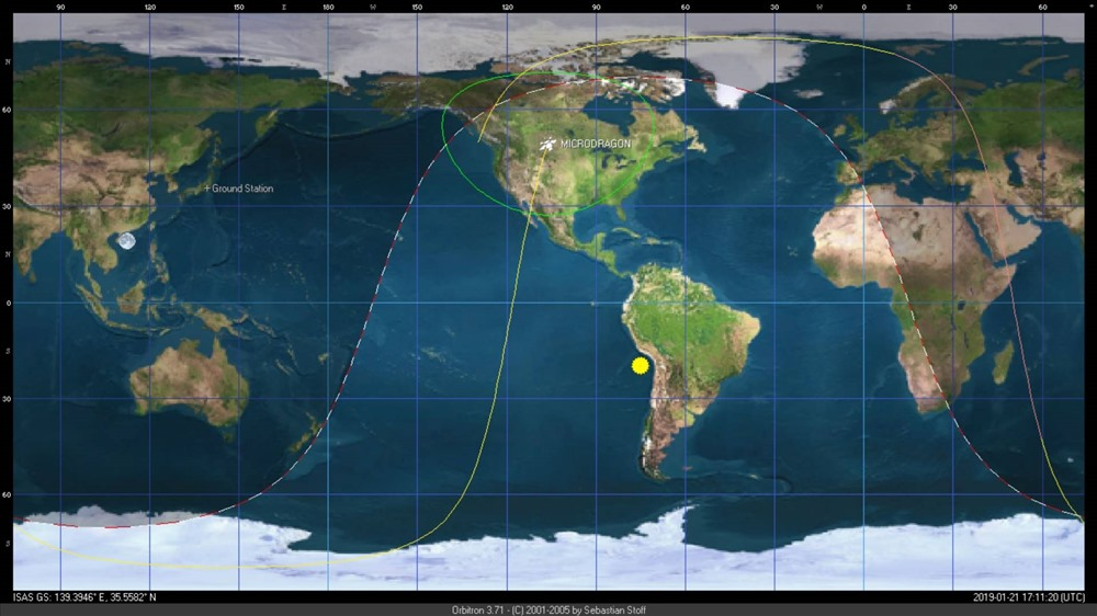 Vị trí vệ tinh MicroDragon khi thực hiện chụp ảnh thử nghiệm lần đầu tiên ở độ cao khoảng 512km trên bầu trời nước Mỹ.