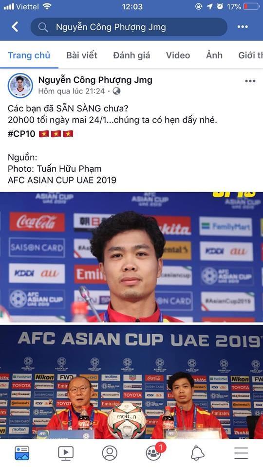 """Công Phượng là cầu thủ có nhiều kinh nghiệm  khi đã có nhiều lần đối đầu với các đội Nhật Bản ở các cấp độ U19, U23. Chính cầu thủ này cũng là người ghi bàn thắng duy nhất trong trận đấu với Jordan, đem đến tấm vé vào tứ kết Asian Cup 2019. Công Phượng chia sẻ bức ảnh với """"thuyền trưởng"""" Park Hang-seo trên Facebook cùng trạng thái nhắn gửi người hâm mộ ngay trước trận đấu với Nhật Bản tối nay (24.1): """"Các bạn đã sẵn sàng chưa? 20h tối nay 24.1, chúng ta có hẹn đấy nhé!"""". Có thể nói, Công Phượng vẫn có tâm thế khá tự tin."""