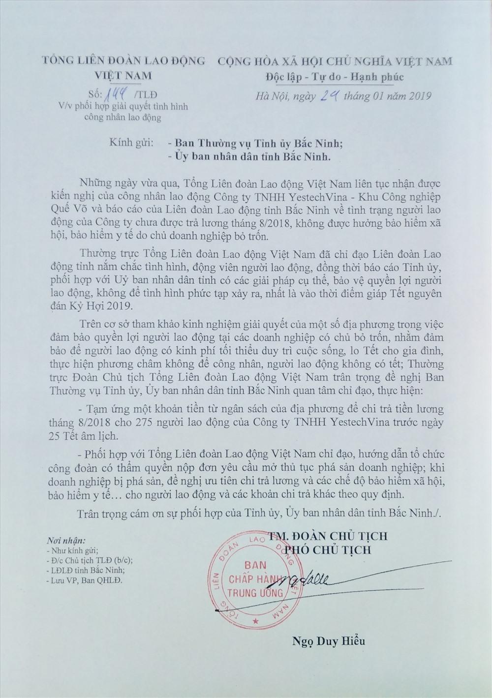 Văn bản của Đoàn Chủ tịch Tổng LĐLĐVN gửi lãnh đạo tỉnh Bắc Ninh để phối hợp bảo vệ quyền lợi NLĐ. Ảnh: B.C.Đ