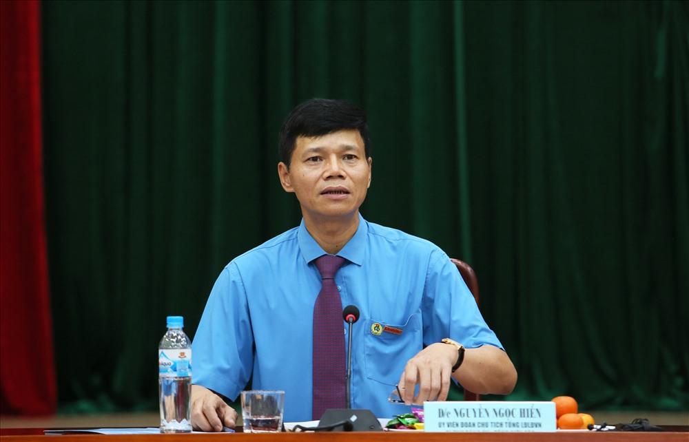 Tổng biên tập Nguyễn Ngọc Hiển phát biểu tại buổi họp mặt đầu xuân. Ảnh: Tô Thế