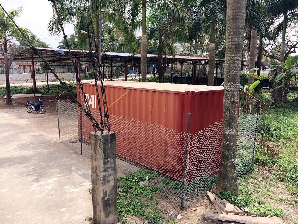 Sau khi chặt hạ 2 cây sưa thu được 31 khúc gỗ với đường kính lớn nhỏ khác nhau và được đưa toàn bộ vào chiếc container khóa chặt được rào kín bằng dây thép trước sân nhà văn hóa thôn.