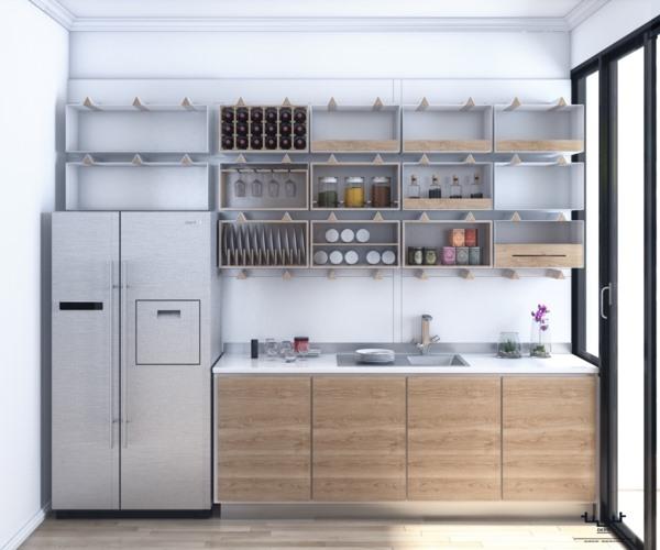 Tủ bếp có vân gỗ màu vàng tự nhiên kết với mới màu trắng sẽ khiến cho không gian nhà bếp trở nên sạch sẽ, sáng sủa hơn.