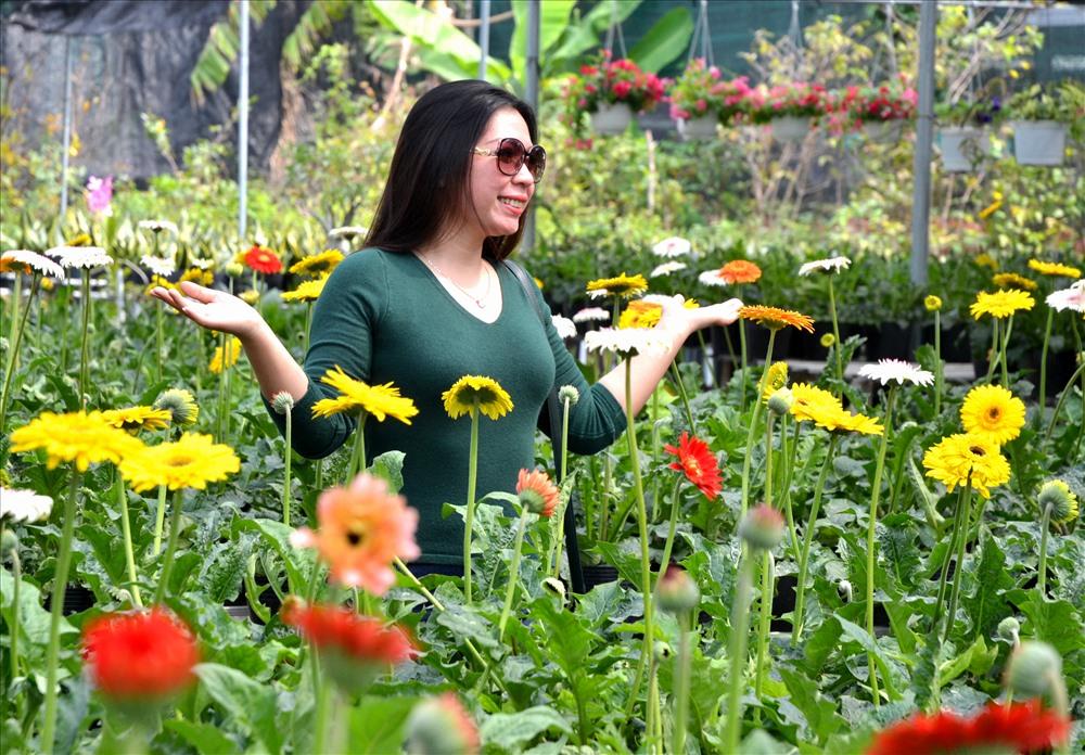Tạo dáng chụp ảnh lưu niệm tại vườn hoa Sa Đéc. Ảnh: Lục Tùng