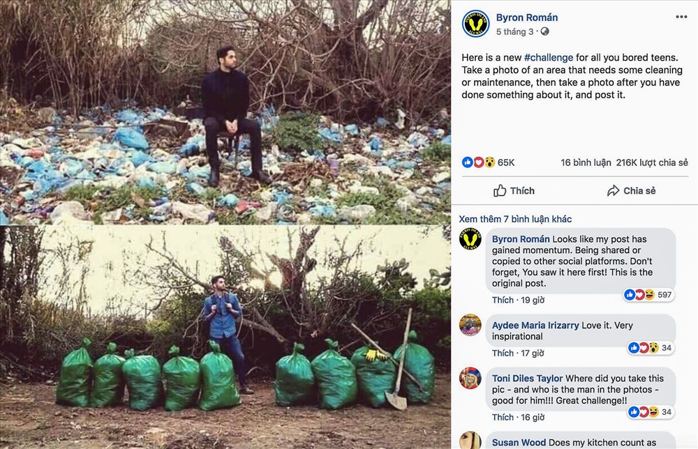 Chàng trai truyền đi thông điệp về bảo vệ môi trường nhận được nhiều phản hồi tích cực từ dân mạng. Ảnh chụp màn hình.