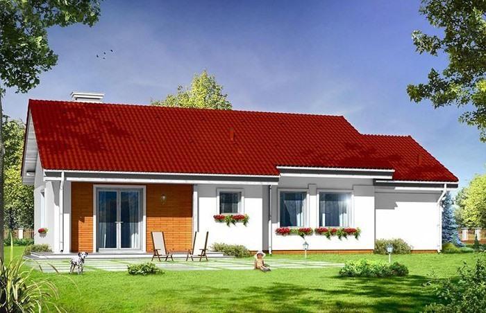 Với diện tích 100 m2, ngôi nhà được bố trí 1 phòng khách, phòng bếp, 3 phòng ngủ, nhà tắm và gara ô tô. Ảnh: Printest.