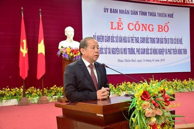 Ông Phan Ngọc Thọ - Chủ tịch UBND tỉnh Thừa Thiên - Huế phát biểu tại buổi lễ.
