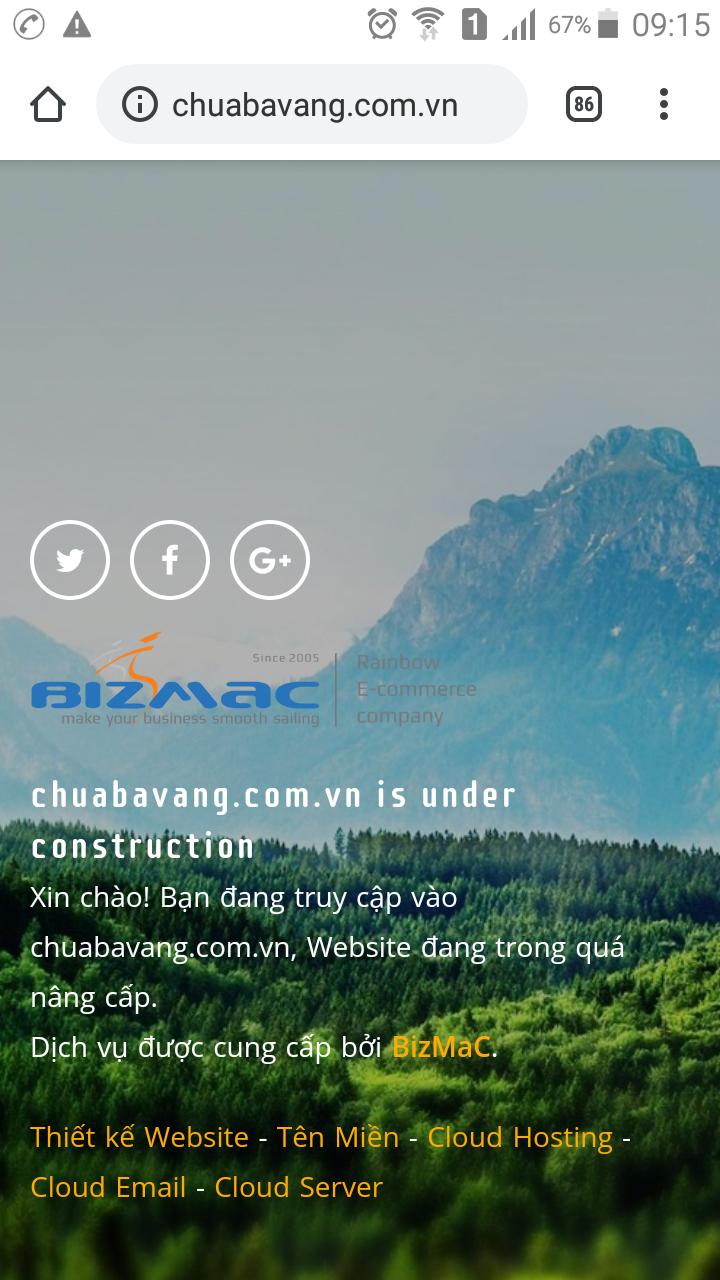 Trang chuabavang.com.vn tạm thời đóng cửa. Ảnh: N.H