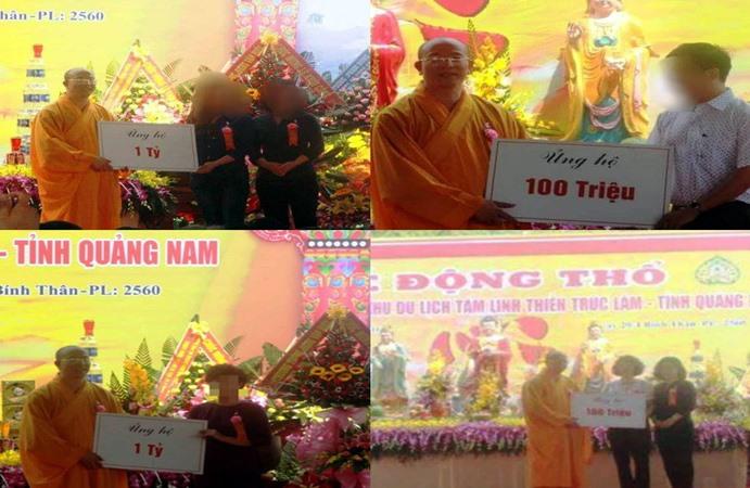 Sư Thích Trúc Thái Minh đại diện nhận số tiền công đức để xây dựng dự án.