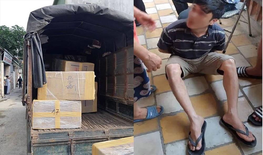 Xe tải chở ma túy được giấu tinh vi và một trong 4 đối tượng bị bắt giữ tại hiện trường.