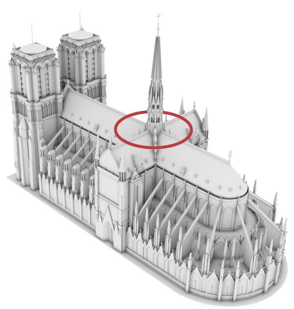 Ngọn lửa ban đầu được nhìn thấy trong khu vực này của nhà thờ vào tối thứ Hai (15.4). Ảnh: NYT.