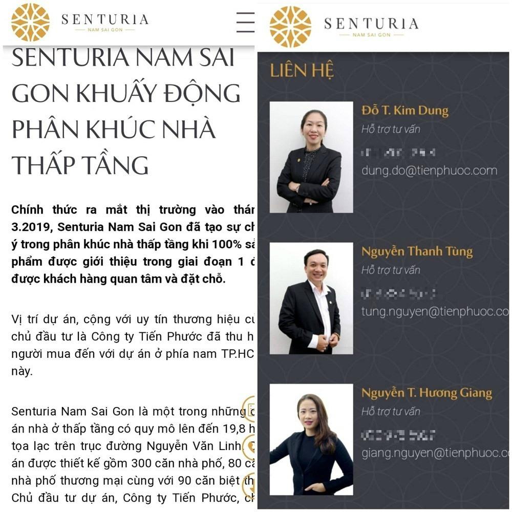 Thông tin giới thiệu chào bán dự án Senturia Nam Sài Gòn được đăng tải trên web.