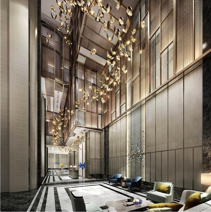 Sảnh đón tiếp của Vinpearl Luxury Landmark 81 sở hữu kiến trúc độc đáo, thời thượng