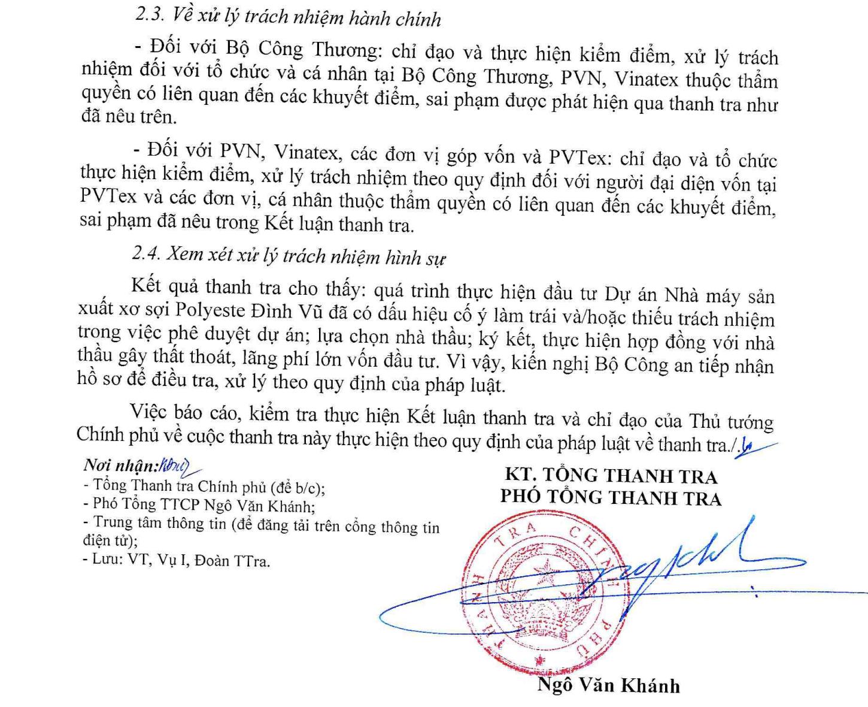 Kết luận của TTCP chỉ rõ những sai phạm của dự án PVtex.
