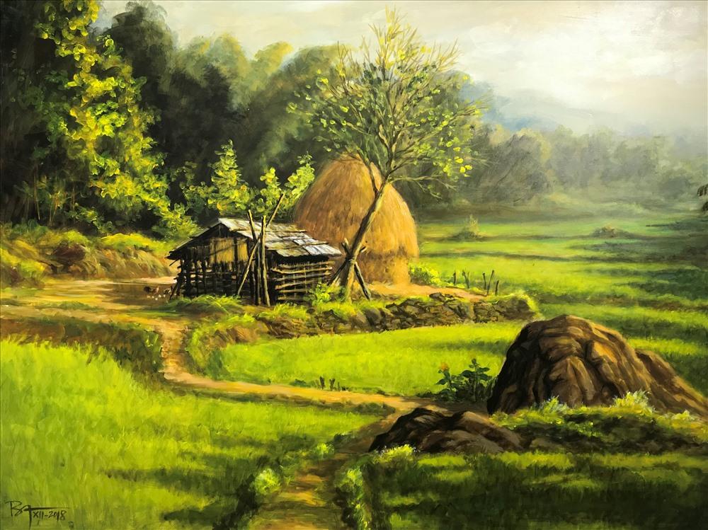 """Tác phẩm """"Góc Quê"""" của họa sĩ Nguyễn Ba"""