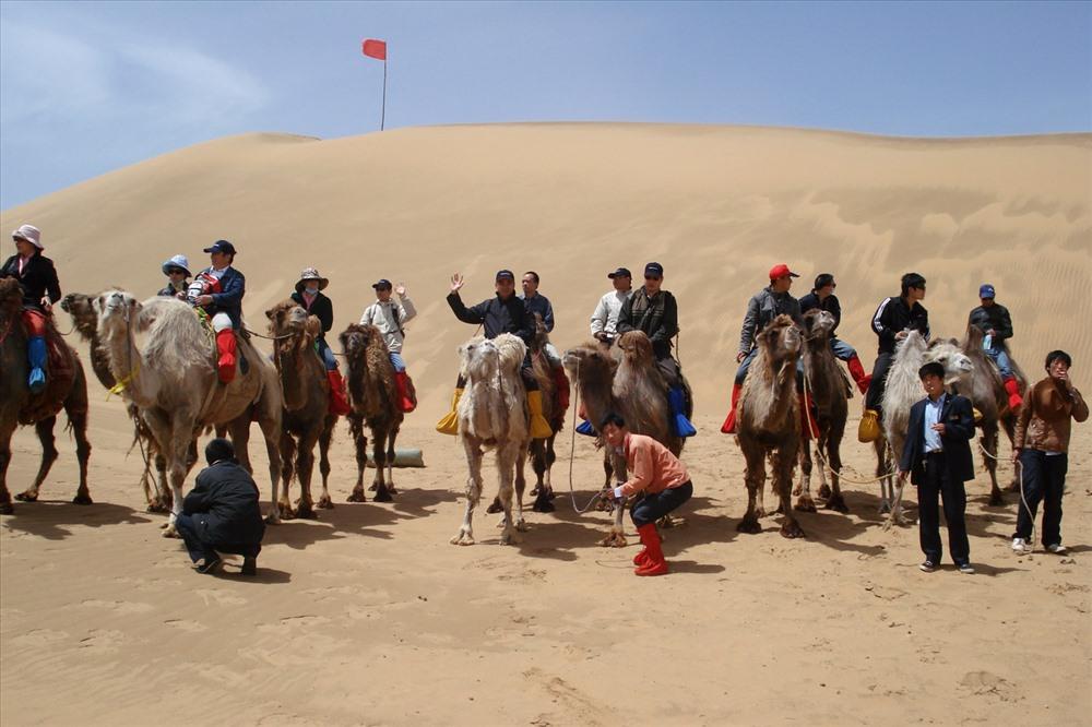 Cưỡi lạc đà đi trên sa mạc.