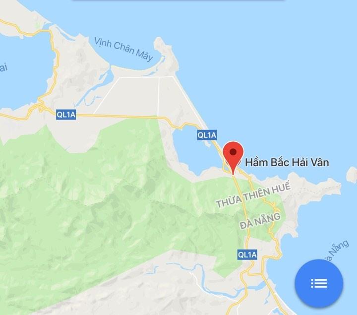 Vị trí Bắc hầm Hải Vân trên bàn đồ. Ảnh: GG Maps.