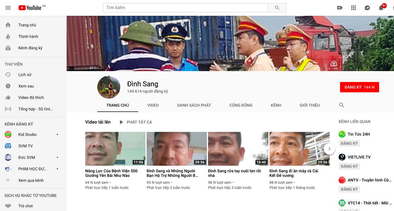 Kênh youtube của Sang chủ yếu đăng video liên quan đến lực lượng CSGT, thanh tra giao thông với mục đích không có tính xây dựng.