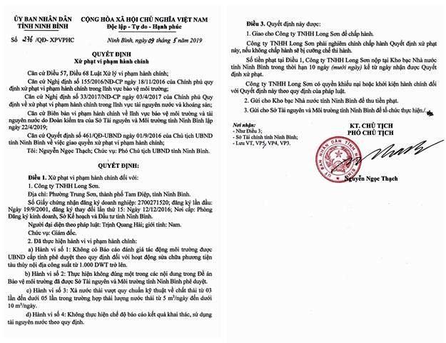 Quyết định xử phạt vi phạm hành chính đối với Cty TNHH Long Sơn. Ảnh: NT