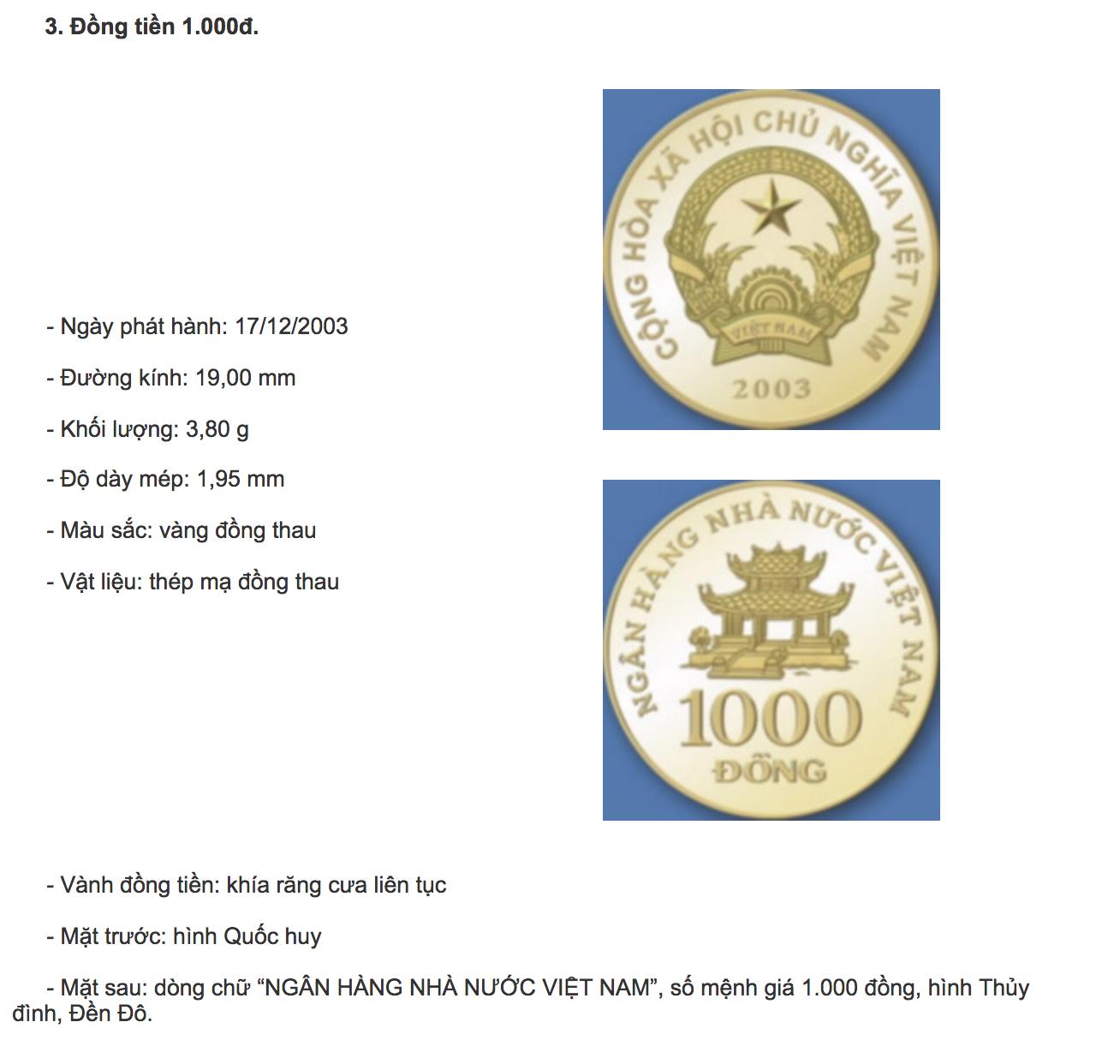 Tiền xu mệnh giá 1000 đ