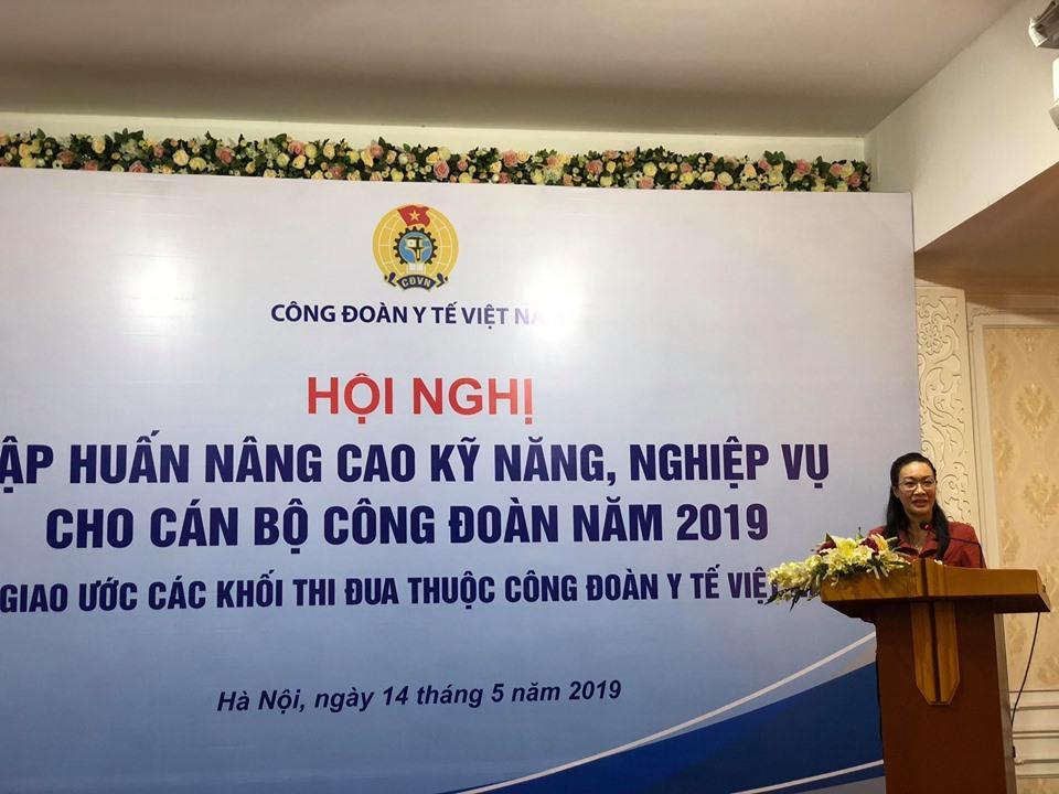 PGS. TS Phạm Thanh Bình, Chủ tịch CĐ Y tế Việt Nam phát biểu tại hội nghị.