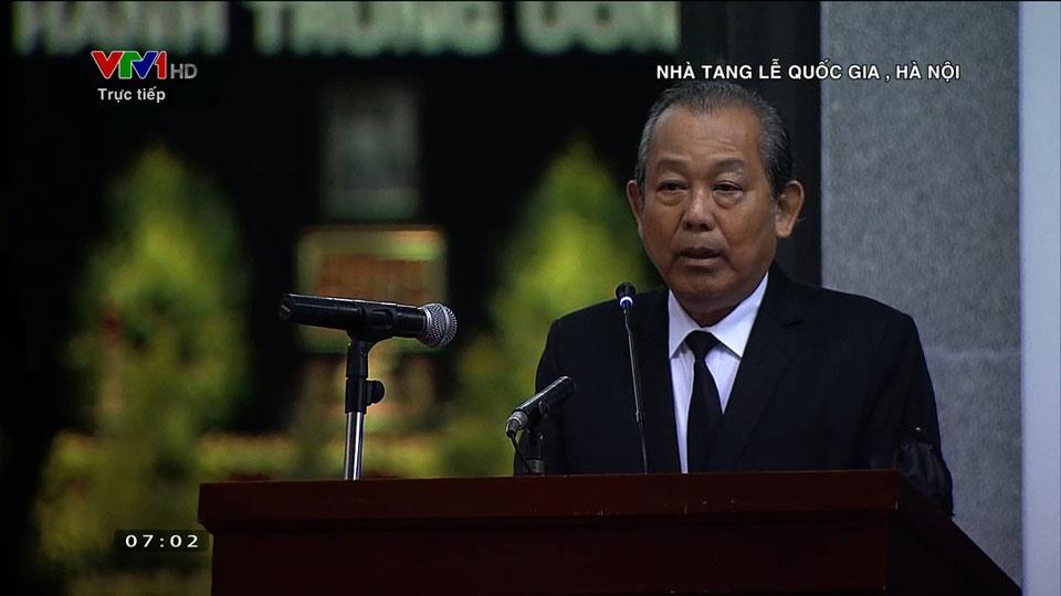 Ủy viên Bộ Chính trị, Phó Thủ tướng Thường trực Chính phủ, Trưởng ban Tổ chức Lễ tang tuyên bố Lễ tang. Ảnh VTV
