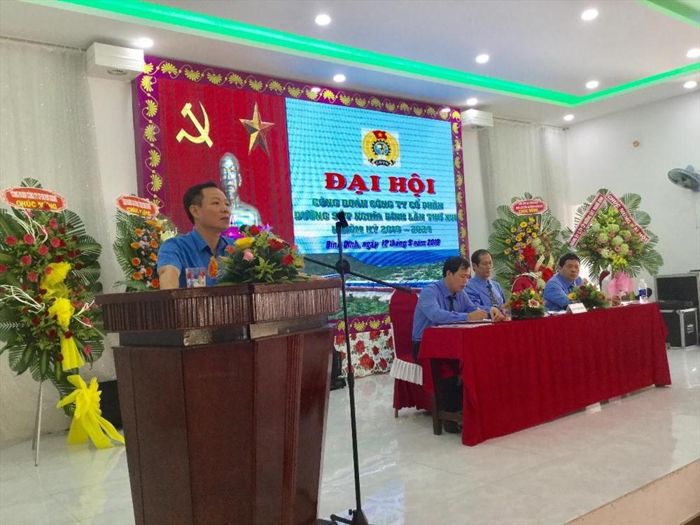 Đồng chí Mai Thành Phương - Chủ tịch Công đoàn ĐSVN phát biểu chỉ đạo Đại hội XVI Công đoàn Công ty CPĐS Nghĩa Bình